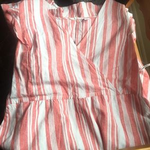 Candy Cane Striped Old Navy XXL jumpsuit linen NWT